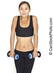 Dumbbell Shrug 2 - A female fitness instructor demonstrates...