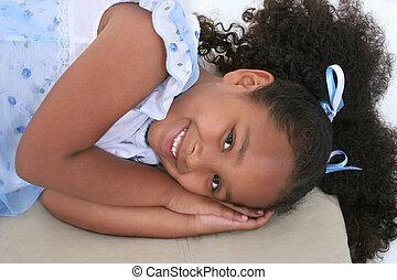 Girl Child Laying - Beautiful Six Year Old Girl In Pajamas...