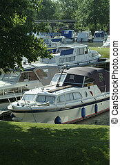 Boats in marina - Boats in mairna at Ely, Cambridgeshire, UK