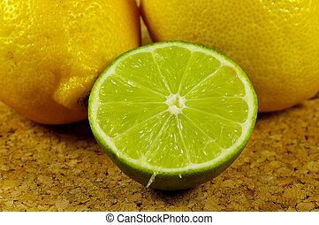 Lemon and Lime - Lemons and a Sliced Lime