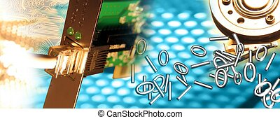 Computer Template - Montage representing connection blue...