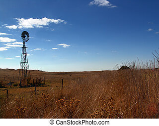 Windmill Landscape - Windmill in rural australia