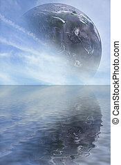CGI Planet Ocean - CGI Planet With Ocean Reflection created...