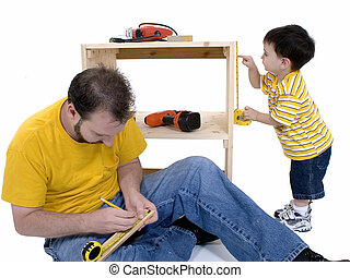 Father Son Family - Boy And His Father Building A Storage...