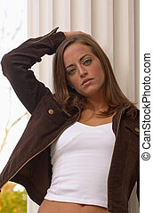 Young Woman 4 - Pretty, young woman modeling outside...