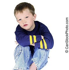 boy isolated sitting crossed armed