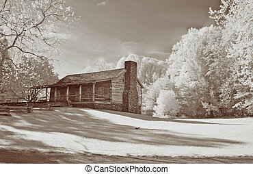 Infrared Old Cabin - Infrared shot of an old cabin in Cades...