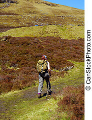 Hiking - A Hiker in the hills of the highlands, scotland may...
