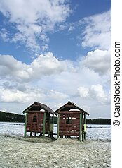 Beach cabins at lakeside