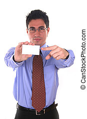 Your blank space - Businessman with a blank business card