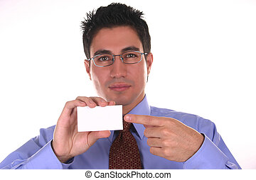 blank space III - Businessman holding a blank business card