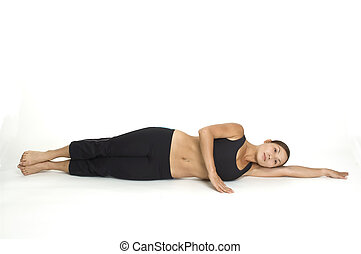 Lying Side Leg Raise 1 - A female fitness instructor...