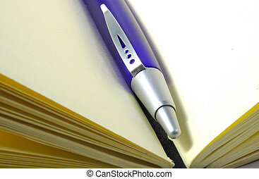 Pen and Journal - Plue Pen in a Journal
