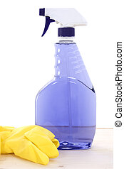 Cleaner Gloves - Bottle of purple window cleaner and yellow...