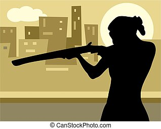Gun Culture - woman pointing a rifle