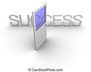 Door to success open - 3d rendered image of an open door...