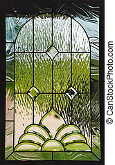 stain glass window in door of home