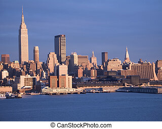 Blue New York - This is a late afternoon shot of the New...