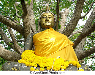 Buddha statue at a temple in Bangkok