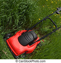 big job - lawn mower in tall grass