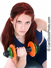 Teen Girl Weights - Beautiful 17 year old girl with long red...