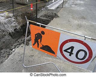 Digger at work - Road works underway