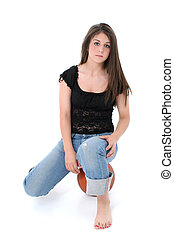 Teen Girl Sport - Beautiful Teen Girl In Jeans Sitting On...