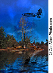 Nightvision. - A surreal landscape with flying eagle.