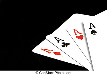 Aces on Black - Four of a kind aces on black background