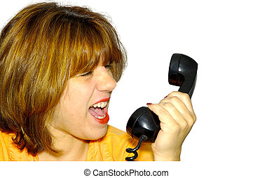 Yelling Into Phone - Woman Yelling Into Telephone Receiver