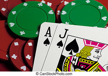 Black Jack and Chips - Black Jack Hand and Chips