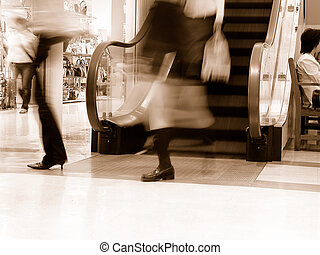 Shopping-sepia - Dynamic aspect in a supermarket-old style...