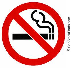 sinal, não, fumar