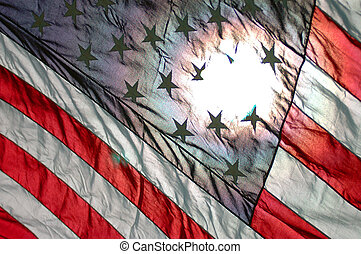 united states flag - usa flag diagonal with sun shining...