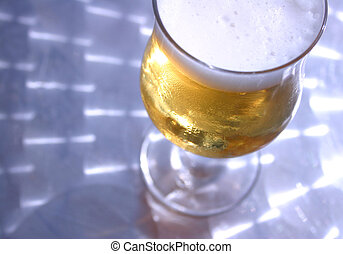 Beer on Metal Table - Cold Glass of Beer on Metallic Table