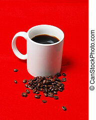 coffee 2 - coffee cup with beans on a red background