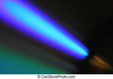 Blue comet on a black background