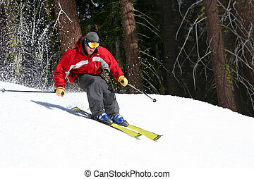 Skier on a slope at lake tahoe, california