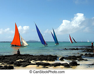 Sailing competition in Mauritius