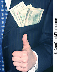 Business man with thumbs up and money in his pocket