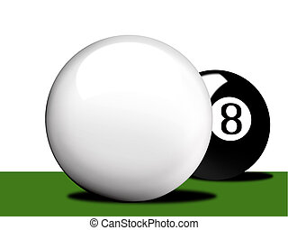 Pool Table - Q and 8 ball clipart
