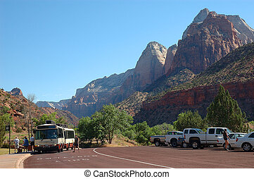 Zion Shuttle - Zion National Park Shuttle at Human History...