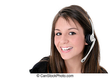 Teen Girl Headset - Beautiful teen girl with headset and big...