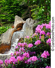 Waterfall. - View on a waterfall in a japanese garden.