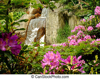 Waterfall - A view on a waterfall in a japanese garden
