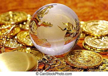 World Markets - Glass Globe WIth Gold Coins and Gold Watch.