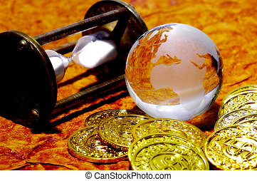 World Markets 2 - Glass Globe WIth Gold Coins and Hour Glass...
