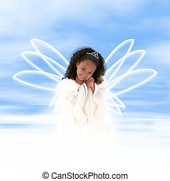 Magestic Angel - Beautiful young angel with wings floating...