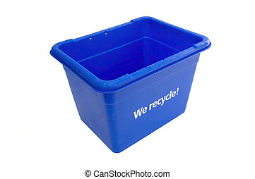 Blue Box - Recycling  Blue  Box Isolated
