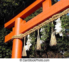 Japanese Temple Gate - A Japanese wooden temple gate with...